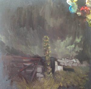 Ivy clad post, Clonlara, oil on board