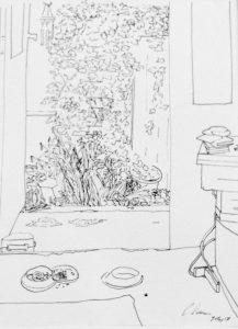 View from Back Door, pen on paper